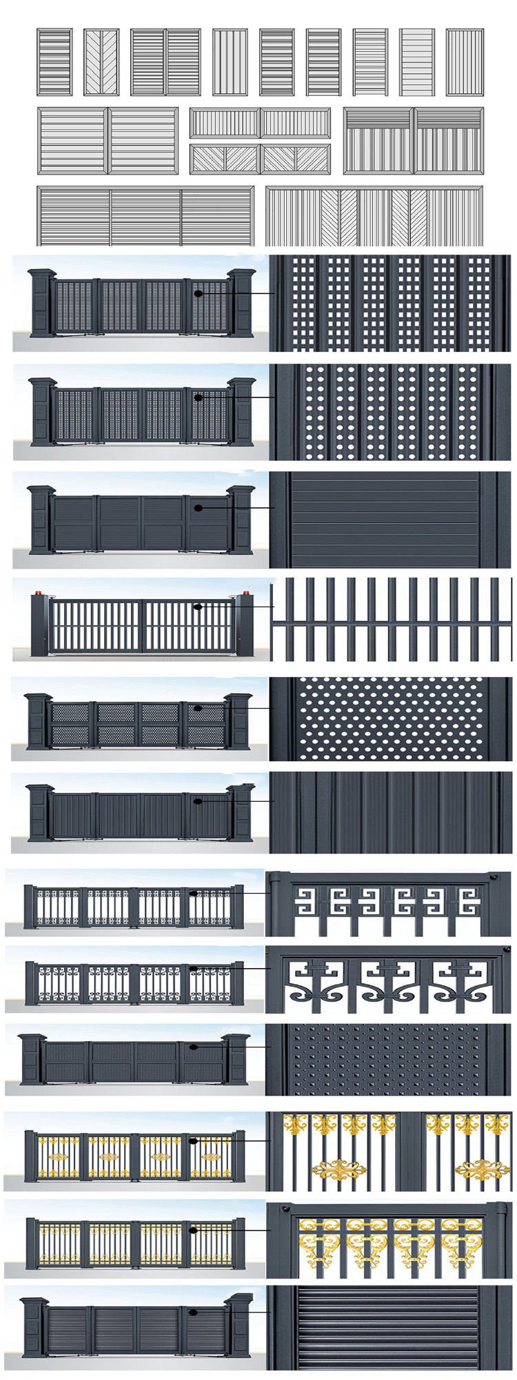 Korea Russia Turkey Thailand Luxury Villa Modern Aluminum Sliding Main Gate Front Doors Pivot Aluminium Garden Entry Door Price