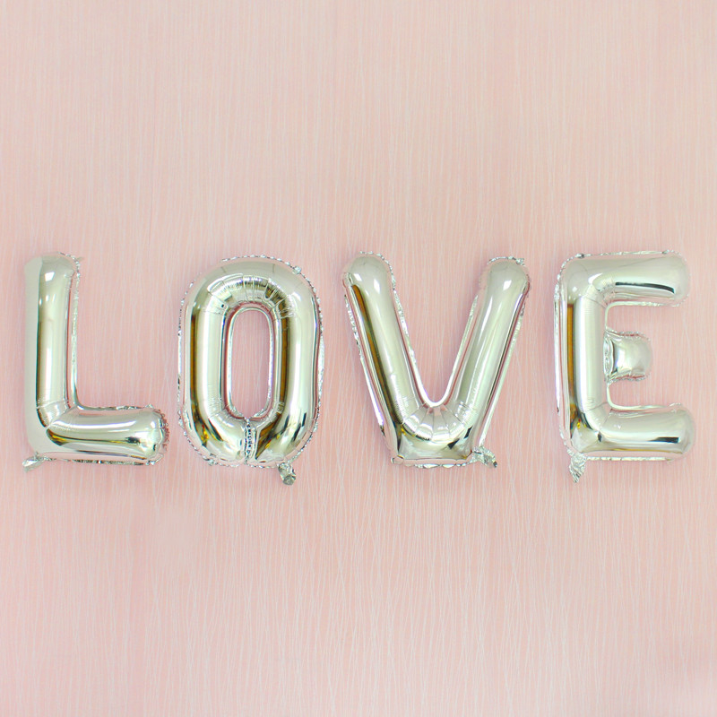 32inch Silver A - Z Optional Letter Balloons Aluminum Foil Helium Balloons Birthday Wedding Party Decorations