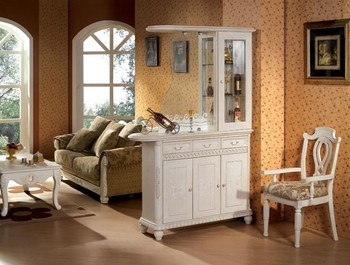 2014 Antique White Wooden Living Room Cabinet Was Made From Oak Solid Wood An