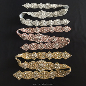 6X 86 cm long piece blush gold thread embroidered handmake sash waist belt