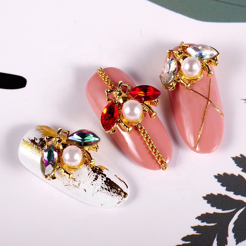Fangxia 3d DIY Nail Art Decorations Japanese Jewelry Alloy Drilling Bee Shape Nail Designs, Mixed color