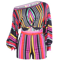 FS0925B new European style plus size two piece set women clothing