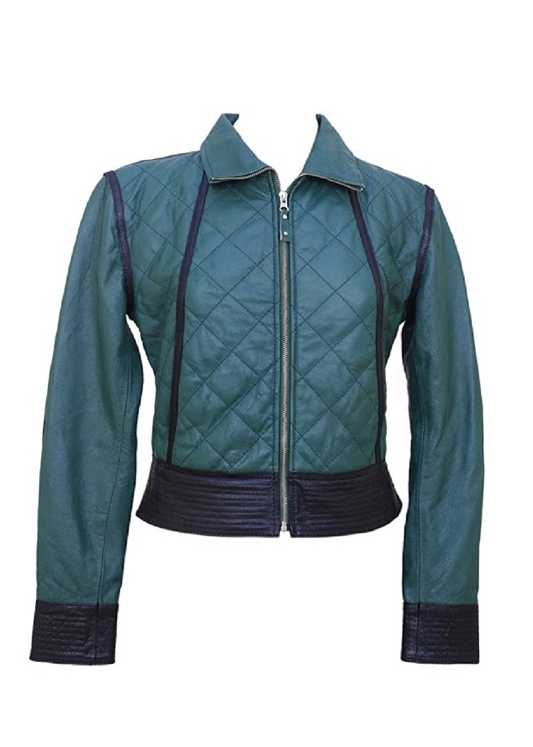 Bestzo Women's Fashion Jacket Lamb Leather Blue XL