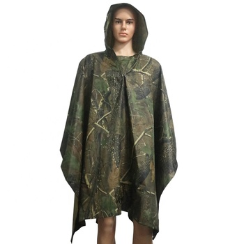 Lightweight Woodland Camouflage Reusable Ripstop Nylon Rain Poncho