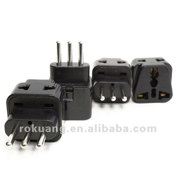 2 In 1 Usa To Italy Adapter Plug (type L) - 4 Pack,Black