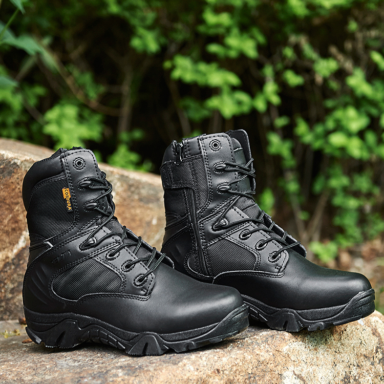 Fashion Black Sand Color Leather Outdoor Military Army Police Infantry Walking Hunting Men Combat Tactical Boots
