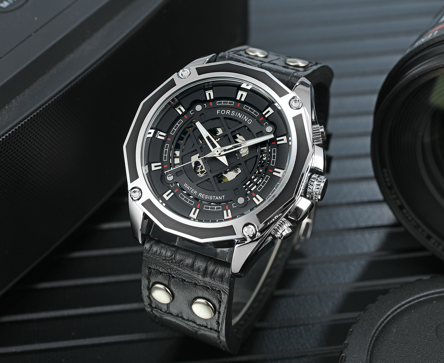 Original Factory China Watch Automatic Black Forsining New Design Water Resistant Wristwatch