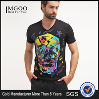 Custom Print 100% Cotton Men T shirt Comfortable Bodybuilding Graphic Print V Neck Tee From China Clothing Manufacturer