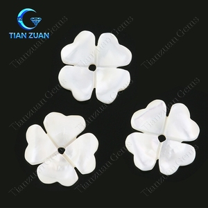 F13 Small White Flower Shape Natural Shell Top Machine Cut Loose Stone