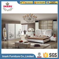 White Royal Luxury Dubai Bed Furniture Set 8 Pieces Set Included Factory Direct Sale