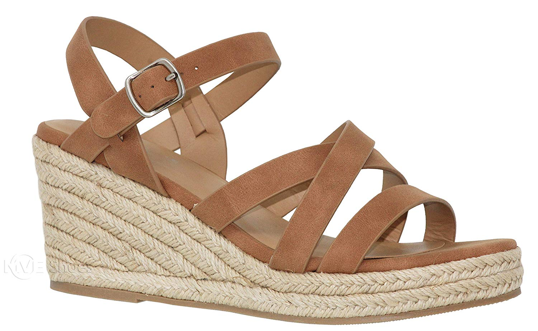 MVE Shoes Women's Open Toe Strappy Sandal - Summer Espadrille Platforms - Faux Leather Cute Shoes