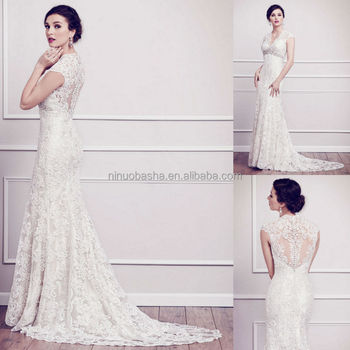 2015 Attractive Lace Sheath Wedding Dress V-neck Cap Sleeve Sheer ...