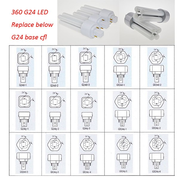 Cfl Replace 360 8w G24d 1 Led 10w G24d 2 Led 12w G24d 3