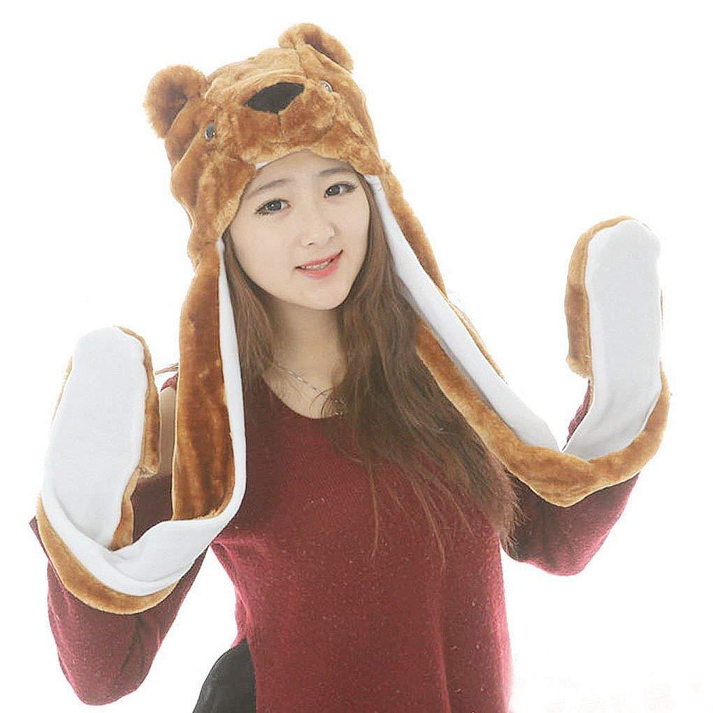 2d151b1b4f7 Get Quotations · FakeFace Kids Girls Women Autumn Winter Cute Cartoon Soft  Warm Plush Animal Hoodie Earflap Hat Long