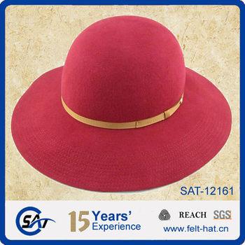 Para mujer rojo 100% fieltro de lana Floppy sombrero Iglesia sombrero df082c63e52