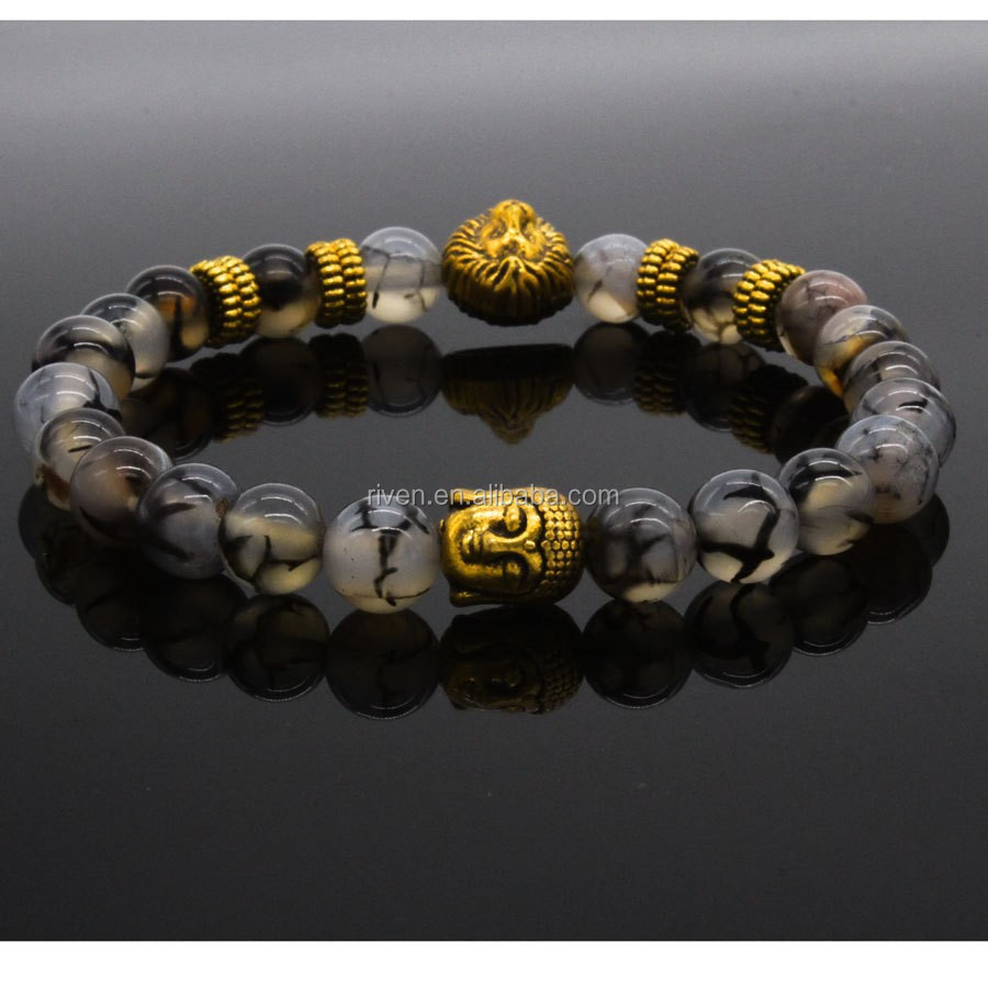SN0630 New Lion And Buddha wrist Gold Spacer Buddha Lion Stretch bracelet Black Line Agate Mala Buddha Bracelet
