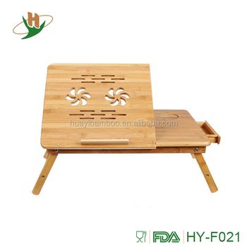 Multifunctional Solid Wooden Computer Desk Bamboo Laptop Table With Tilting Top Drawer
