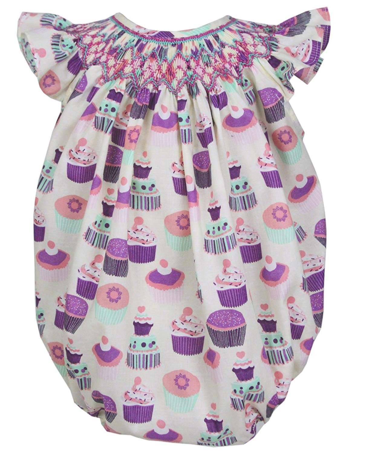 7d36c4212f5c Get Quotations · Carouselwear Baby Girls First Birthday Party Bubble Romper  Smocked Cupcakes