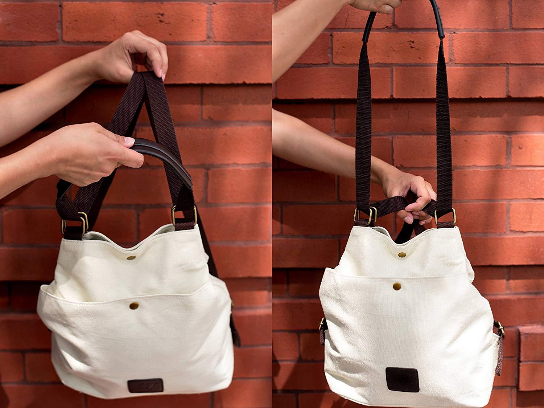 b2e0b7ac7149 Get Quotations · Backpack Convertible Tote Bag Canvas Vegan Laptop Tablet  Purse Beach Messenger Handbag Luggage Carryall Grad Gift
