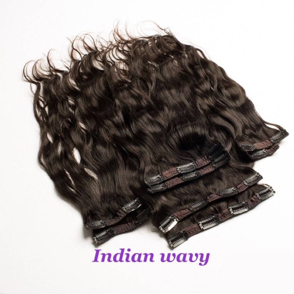 "Foxys' Hair Clip in Human Hair Extensions Indian Wavy/Straight Soft Virgin Human Hair Extensions Clip On Hair Weave Extensions Natural Color 10pcs/Lot(20"",body wavy)"