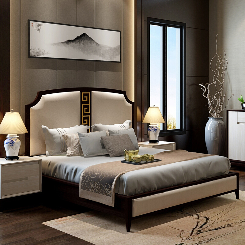 Customized professional good price of adult wooden latest wooden double bed home bedroom furniture set