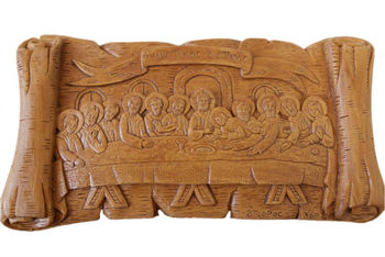 Hand Carved Aromatic Icon The Last Supper Plaque Gift Made By Pure  Beeswax,Mastic And Incense - Buy Christian Religious Art Icons Product on