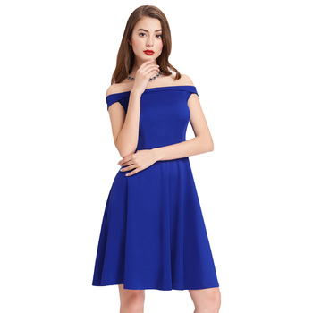 c076263a4e5 Grace Karin Sexy Women's Stretchy Off Shoulder Flared A-Line Blue Vintage  Dress CL010679-3, View dark blue off shoulder dress, Grace Karin Product ...
