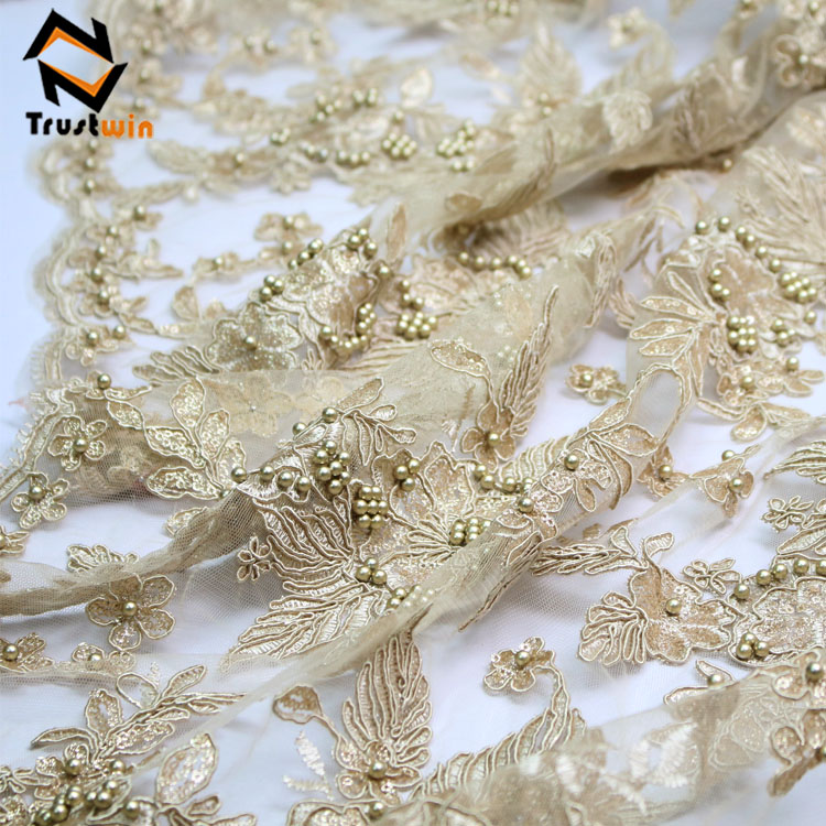 Good quality handmade bead embroidery french lace fabric