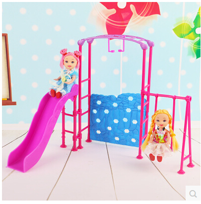 Free Shipping doll Amusement Park Slide swing accessories for Barbie Doll girl play house