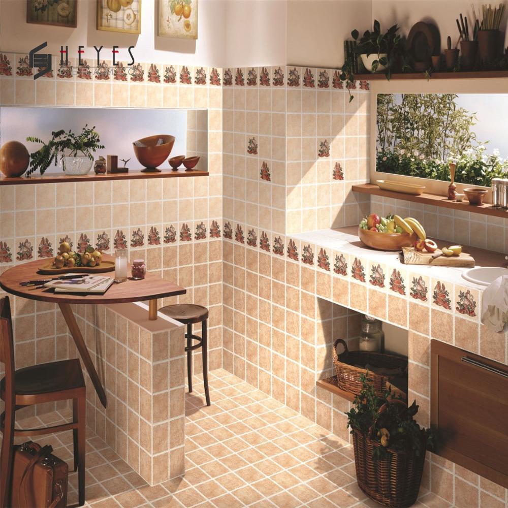 Beige Flower Design Kitchen Floor Ceramic Bathroom Wall Tiles