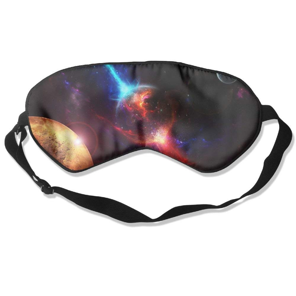 Madge Kelley Eye Mask Adjustable-Strap Eyeshade Sleeping Mask Skin-Friendly Planets Of Space Dark Night Sleep Travel