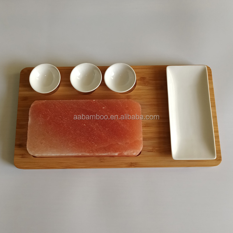 Salt Slab with Ceramic plate and Bamboo Platter BBQ Grill