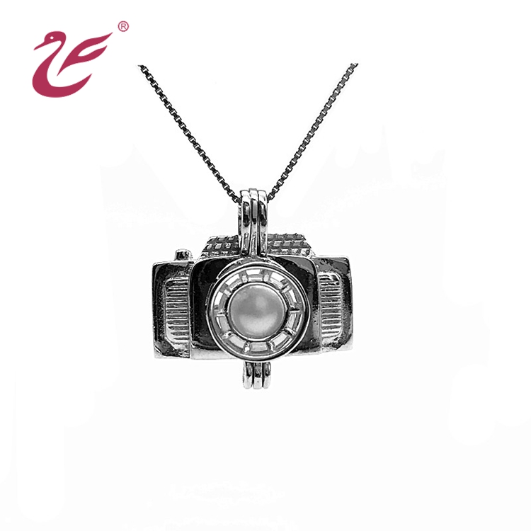Custom Jewelry Camera shape Sterling Silver Pearl Cage Pendant