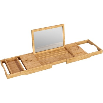 Bamboo Bathtub Caddy Tray With Mirror And Bath Extending Sides