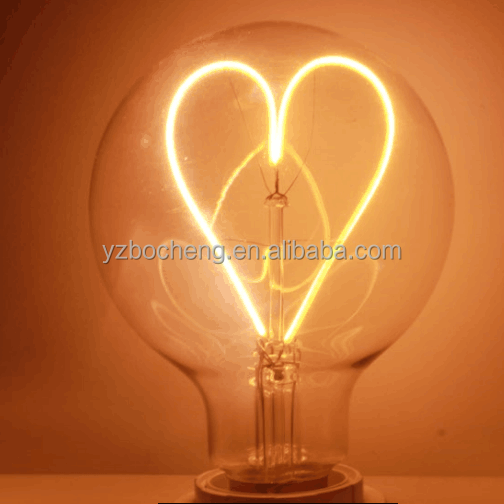 new heart shape led 4w 5w Spiral soft curved filament led bulb G95 amber edison flexiable