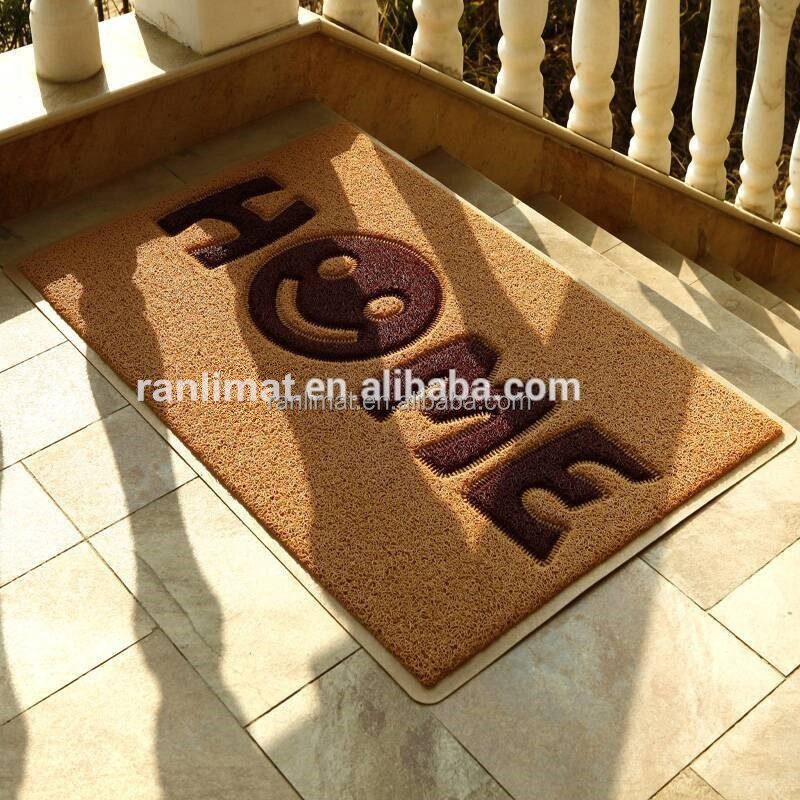 Chinease factory colorful anti slip soft textile pvc door mat