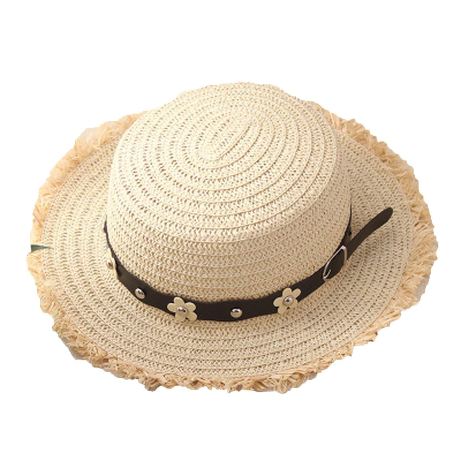 f3ca8adb Get Quotations · Flat Top Straw Boater Hats for Summer Wide Brim Beach Sun  Hats with Tassels 2018 Straw