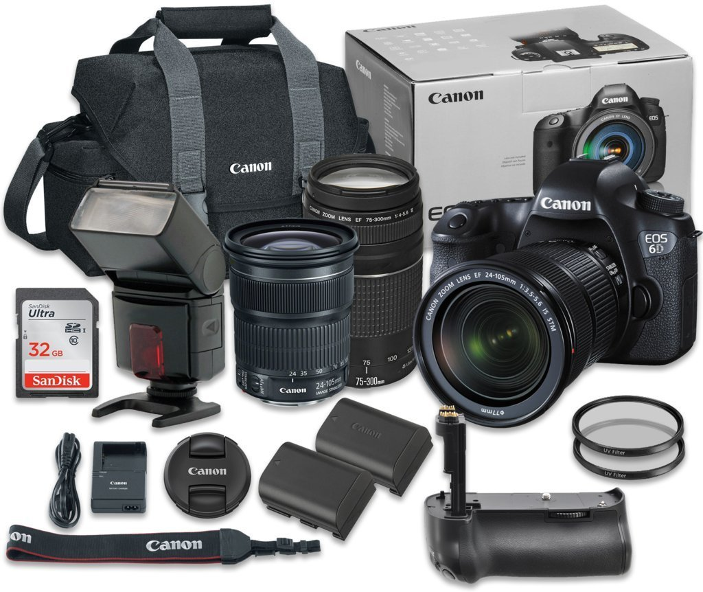 Canon EOS 6D 20.2 MP Full-Frame CMOS Digital SLR Camera Bundle with EF 24-105mm f/3.5-5.6 IS STM Lens + Canon EF 75-300mm f/4-5.6 III Lens + SanDisk 32GB Ultra Class 10 SDHC + Accessory Kit