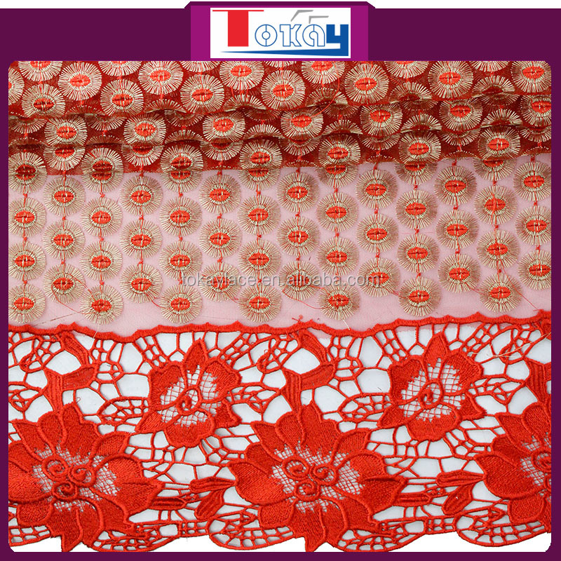 red net fabric Lace for dress hand embroidery designs for kurtis