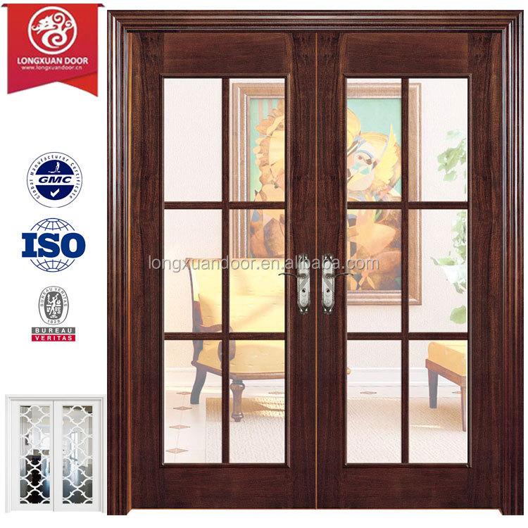 Madera franc s puerta de madera con parrillas vidrio for Puertas principales de cristal