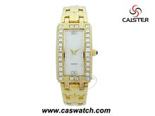 Fashion rose gold plated bracelet style watch for ladies rhinestones rectangle case women bracelet watch