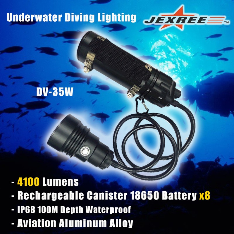 Diving Lighting 4000lm Mounting Canister Underwater LED Light