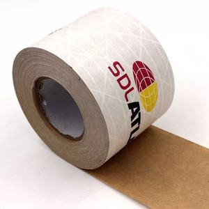 5% discount Custom Logo Printed white kraft Paper Packing Sticky sealing Tape