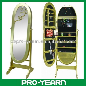 Oval Floor Standing Wooden Furniture Chinese Mirrored Jewelry ...