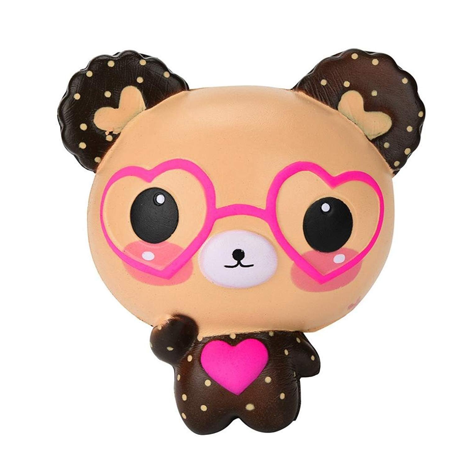 Malbaba 1PC Squishy Love Cute Glasses Bear Scented Squishy Charm Super Slow Rising Squeeze Toys Stress Reliever Toy/Charm Decoration/Gift