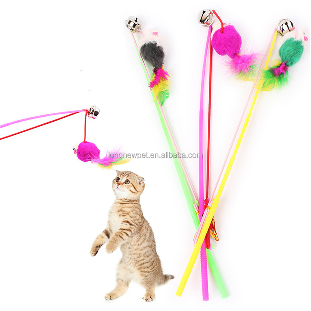 Wholesale Feather Pet Cats Bell Teaser Stick Toy Mouse Plush Toy