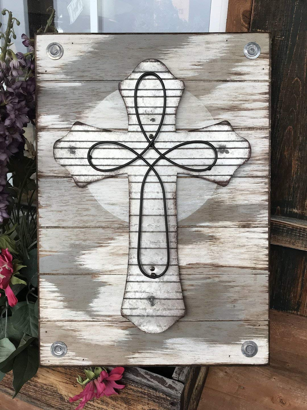 "CROSS Wall Art Hanging Decor *Reclaimed Industrial Sign *Distressed Rustic Wood with decorative Metal Galvanized Cross -20X14 Vertical *Cream, Gray, Silver, Black * 20""X14"" *Jesus Christ God Religious"