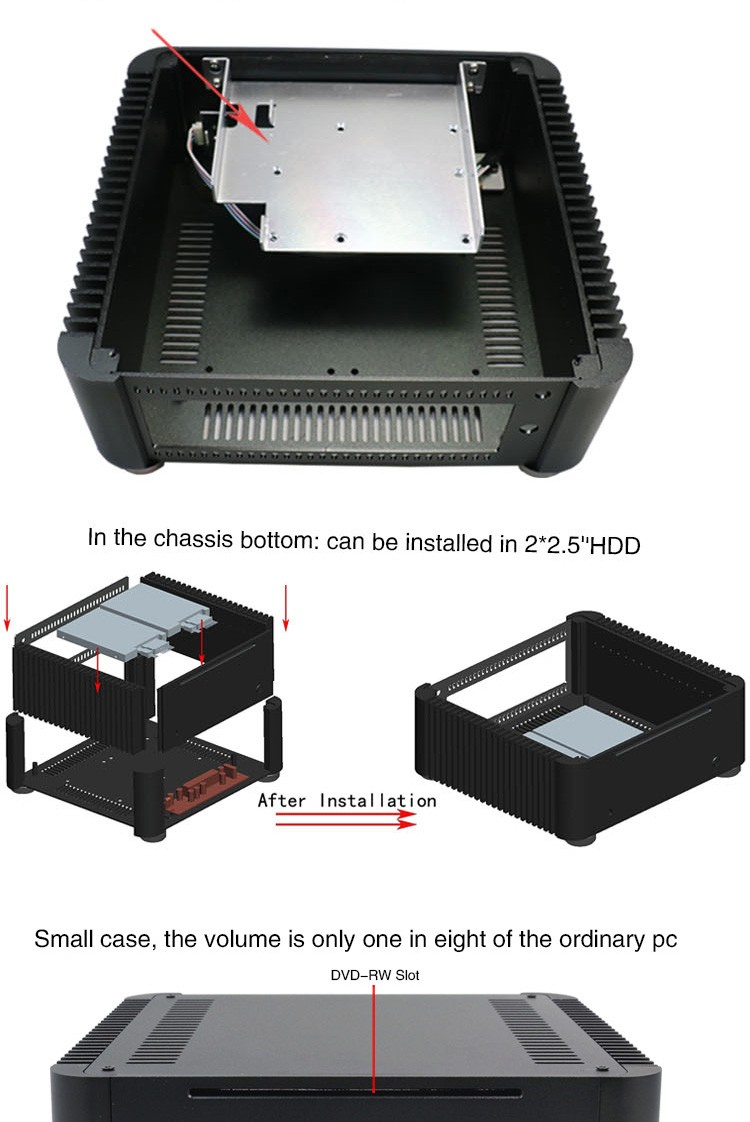 No Fan Home Computer Case T8 (DIY Fanless HTPC) For I3, I5, I7 CPU