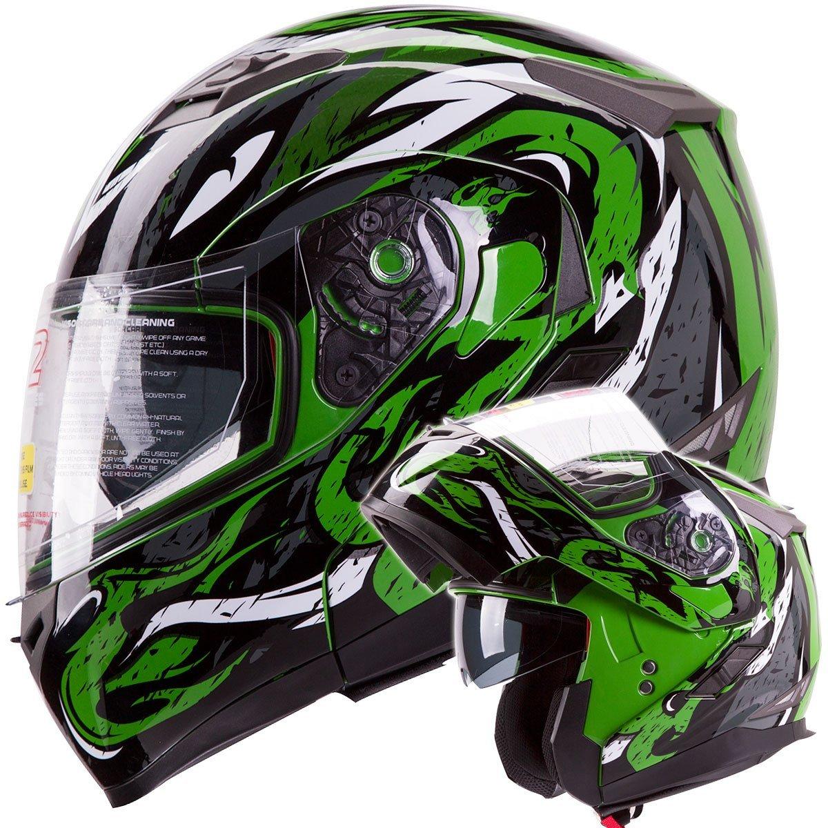 04678957 IV2 Green VIPER Dual Visor Modular Flip-Up Motorcycle Adventure Touring  Helmet [DOT]