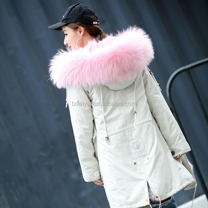 Newest Fishtail Parka Women Warm Padded real raccoon fur on hood and fox Fur Lining Coat